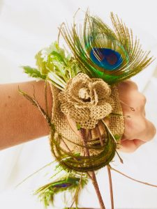 Peacock wedding wrist corsage