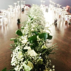 long tressle table wedding garland